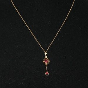 Vintage Art Deco Gold and ruby necklace
